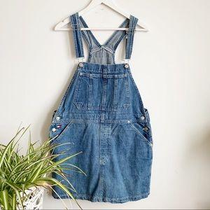 Tommy Hilfiger 90 Vtg Blue Overalls Jeans Skirt XL